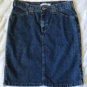 Tommy Hilfiger side vent straight jean skirt